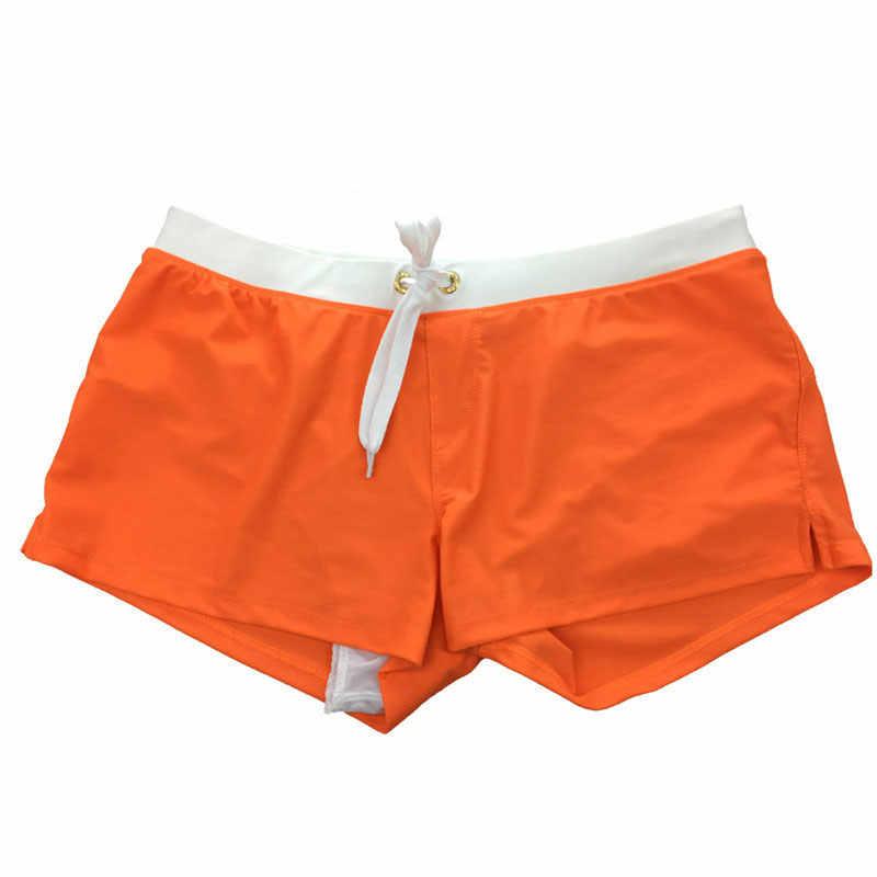 גברים של בגדי ים לשחות מתאגרפים עם כיס Mens בגד ים שחייה בוקסר קצר תחתוני בגד ים חוף לוח לגלוש מכנסיים קצרים