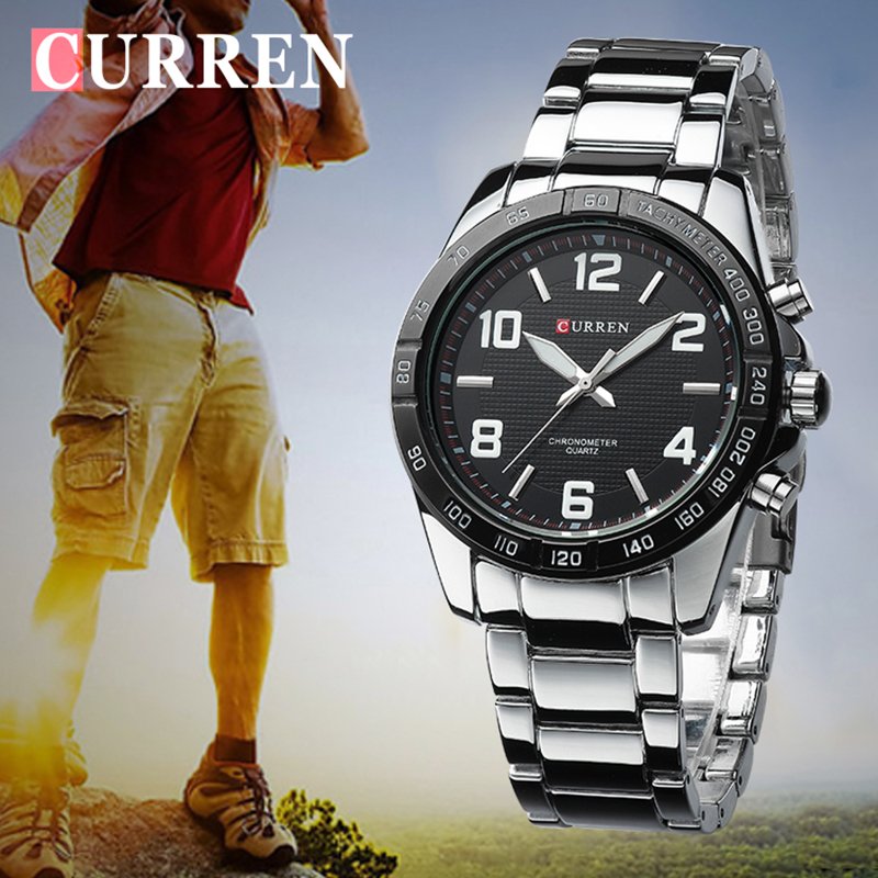 CURREN Mens Watches Top Brand Luxury Military Wrist Watches Steel Men Business Watch Clock Waterproof Relogio Masculino Xfcs