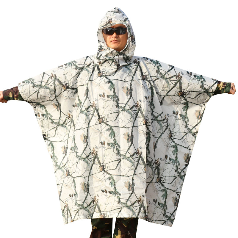 3D white snow pine tree style camouflage poncho style Ghillie suit airsoft hunting clothes Open can