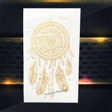 1PC Gold Dreamcatcher Tattoo Flash Metallic Dream Catcher Feather Design Women Henna Temporary Arm Tattoo Sticker PGH03