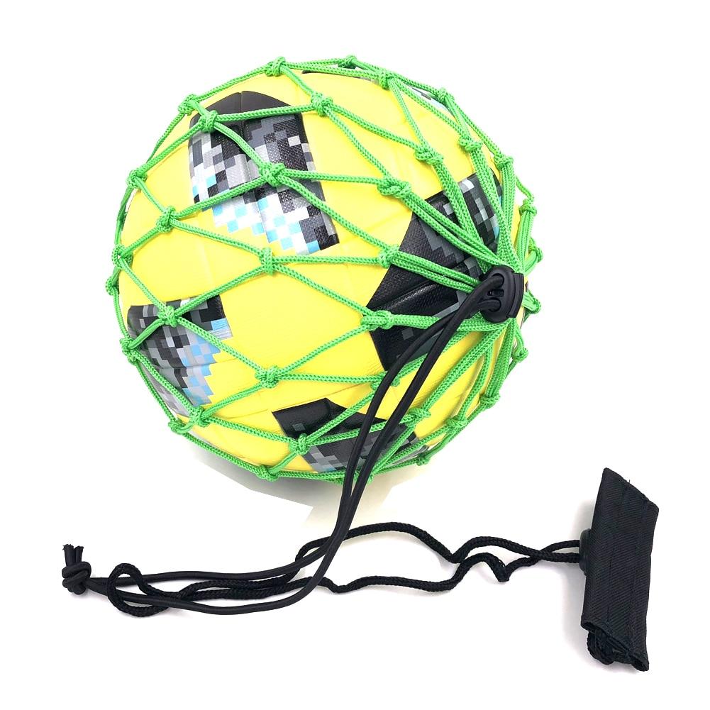 Handle Solo Soccer Kick Trainer Ball Locked Net Football Ball Bungee Elastic Training Juggle Bags Net Size 3,4,5 High Quality