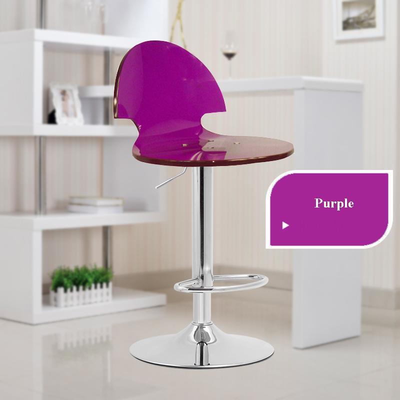Purple Blue Red Color Bar Chair Lift Rotation Hair Salon Stool
