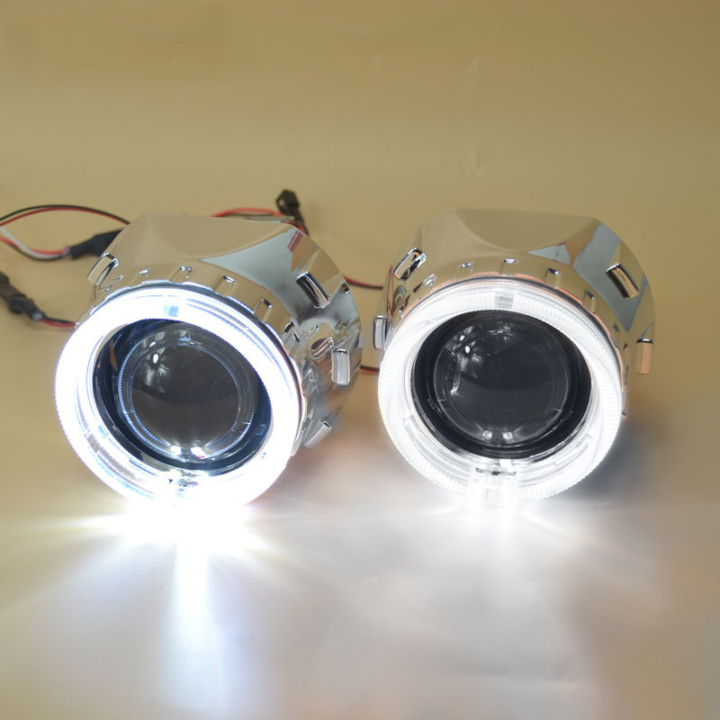 2.5 polegada mortalha com duplo angel eyes bixenon lente do projetor + máscara para carro Farol Farol HID Lente Do Projetor para h1 H7 H4
