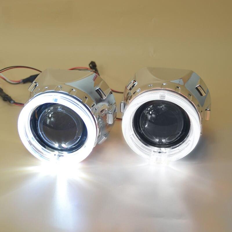 2.5 pouces bixenon projecteur lentille + masque linceul avec double ange yeux pour voiture HID phare projecteur lentille pour H1 H7 H4