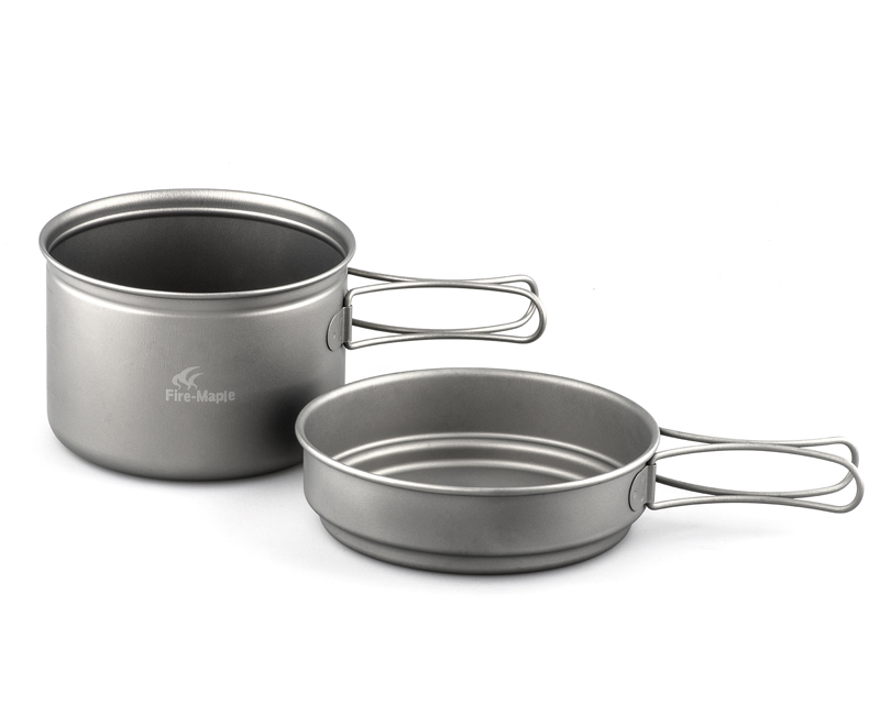 ФОТО Fire-maple Titanium Pot and Pan 2 piece Set Portable Lightweight Camping Cookware