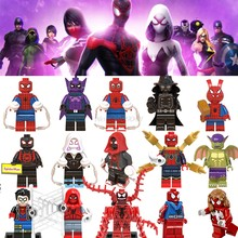 Spiderman Legoing Marvel Spider-Man : Into the Spider-Verse Venom Miles Morales Legoings Super Heroes Figures Blocks Kids Toys 1(China)