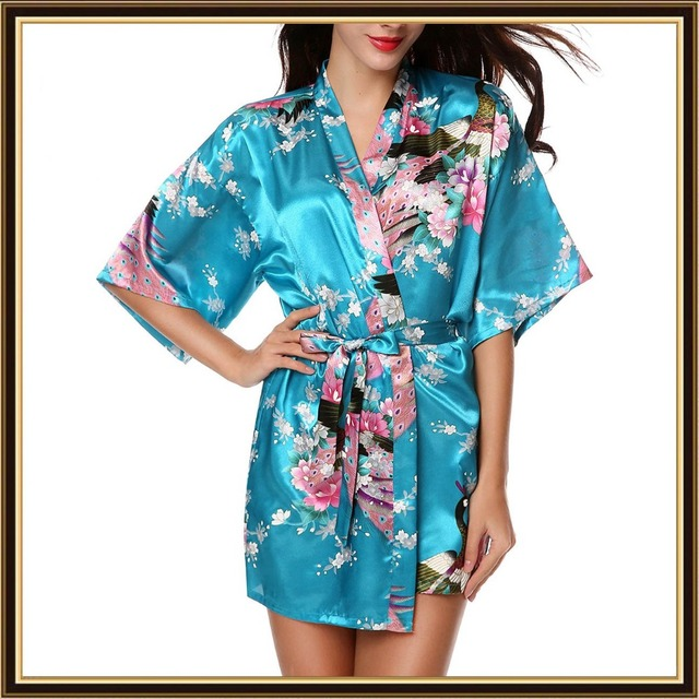 XXL Big Size Satin Robes Women Robe Sexy Dressing Gown Floral Satin Robe  Femme Silk Peignoir Batas De Seda Pink Satin Robe 51c55c1dd429