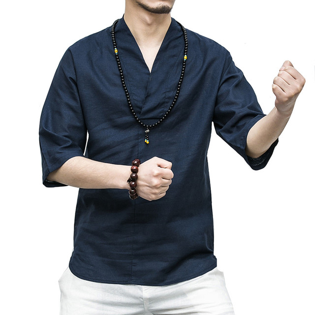 157599744a65 Chinese style Cotton Linen Men s shirt summer 2018 Solid Color Lightweight  breathable V-neck Half sleeve shirt Plus Size M-5XL