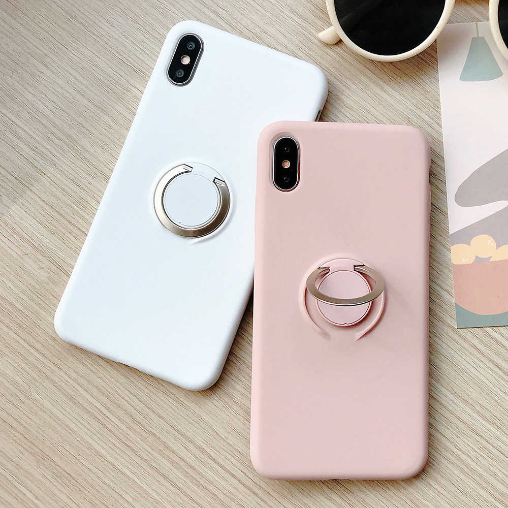 KIPX1110_2_JONSNOW Pure Color Phone Case for iPhone XS XR XS Max 6 6S 7 8 Plus Matte Soft TPU Solid Cover with Ring Holder Capa Fundas