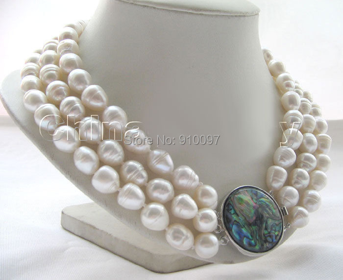 LHX54013>>>17-19″ 3row 11- 13mm white baroque rice freshwater pearl necklace – abalone shell