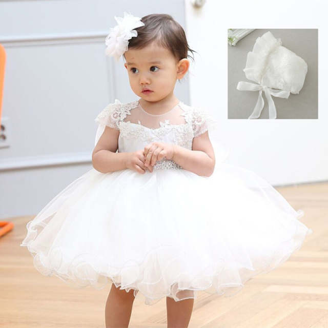 b5861c4b85 placeholder 2019 Baby Girl Dress With Hat White 1 Year Old Birthday Party  Formal Vestido Infantil Baptism