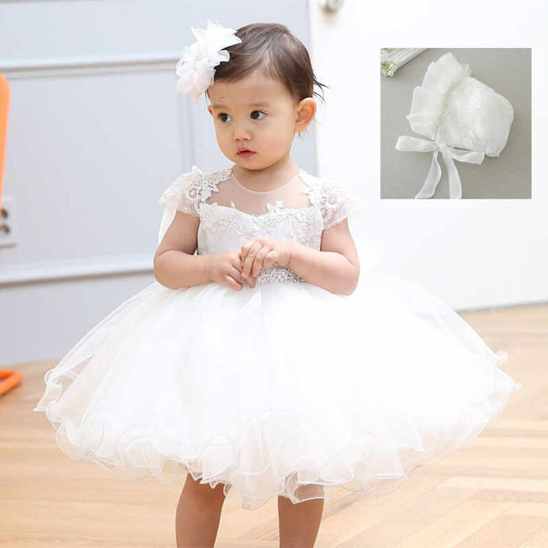 5345bece9 2019 Baby Girl Dress With Hat White 1 Year Old Birthday Party Formal  Vestido Infantil Baptism
