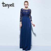 Tanpell Long Evening Dresses Dark Navy Lace 3 4 Length Sleeves A Line Floor Length Gown