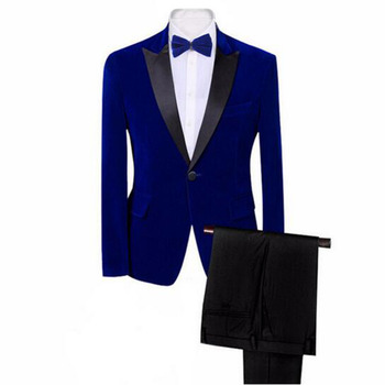 2019 Royal blue Velvet Mens Peak Lapel 2 Piece Suits Groom Tuxedos Slim Fit Wedding Evening Blazer Single Breasted Jacket Pants