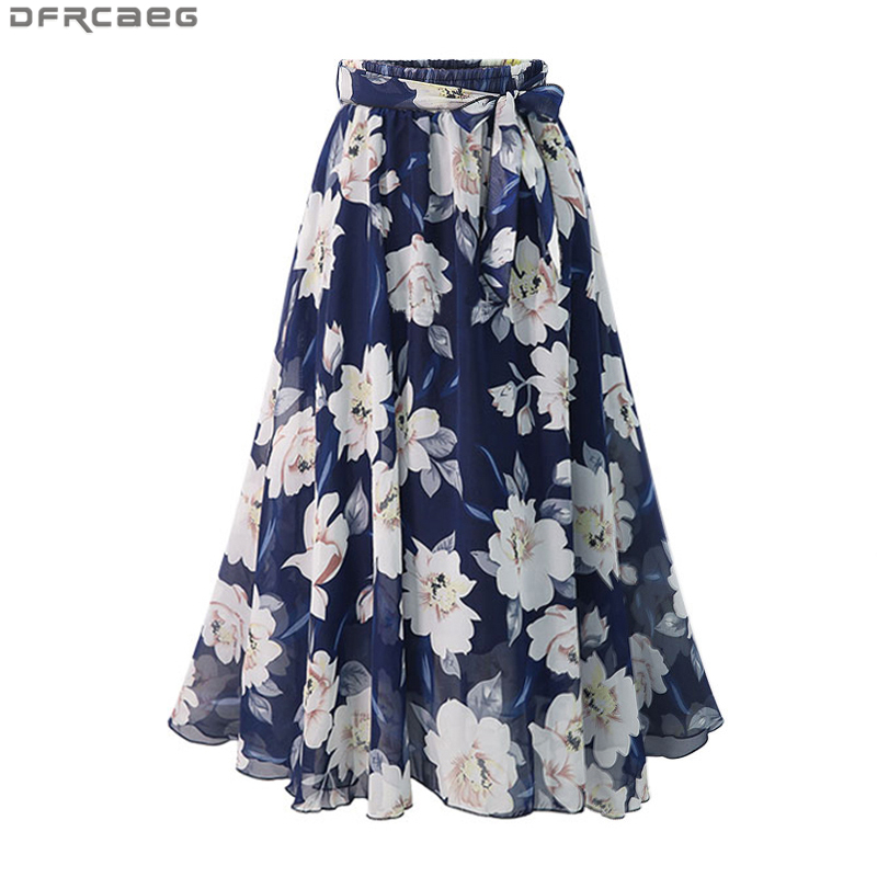 New Plus Size Women Chiffon Skirt Europe Fashion Bow Saia Midi Lining Jupe Femme Lace Up Falda Mujer Summer Print Floral Skirts