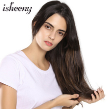 Isheeny 12-20 Remy clip In Human Hair Straight 8pcs/set Seamless Natural Clip Extensions Full Head Brazilian Pure Color