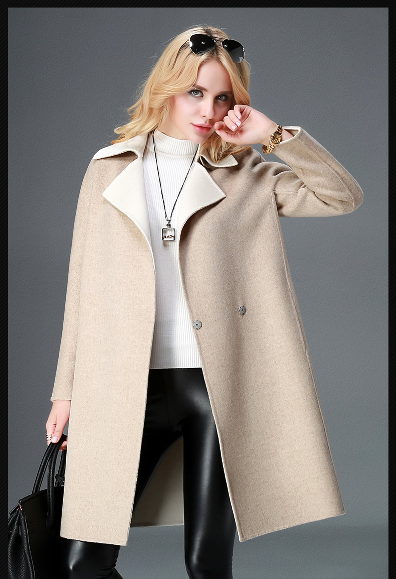 Beige 2017 popular fashion winter Long woman Coat cashmere ...