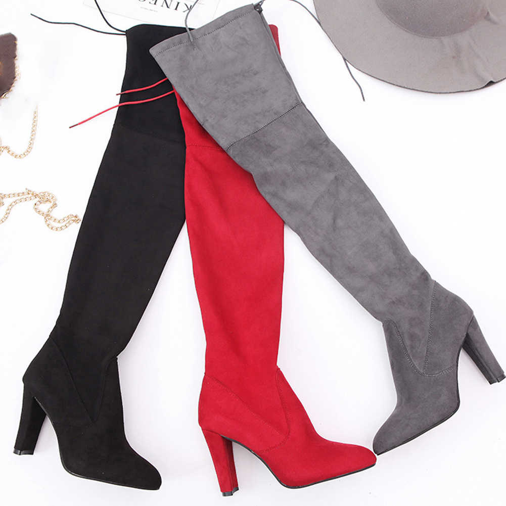 BONJOMARISA Brand New Big Size 34-43 High Heels Pointed Toe Women Shoes Woman Autumn Spring Over The Knee Thigh High Boots