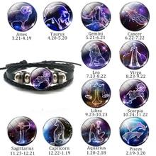 12 браслет с созвездием, очаровательный знак зодиака, стеклянный кабошон, Панк ювелирные изделия, черный Многослойный кожаный браслет для женщин и мужчин, подарок