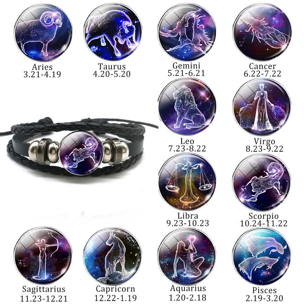 12 Constellation Bracelet Charms Zodiac Sign Glass Cabochon Punk Jewelry Black Multilayer Leather Bracelet Women Men Gift 2018