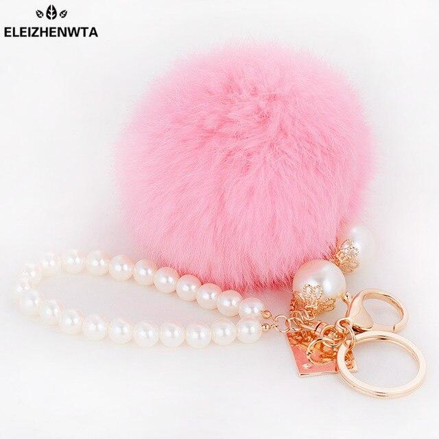 ELEIZHENWTA Rabbit Fur Ball Keychain Fluffy pompom bag pendant keyring  pearl hain beads bag accessory purse 199779f81125f