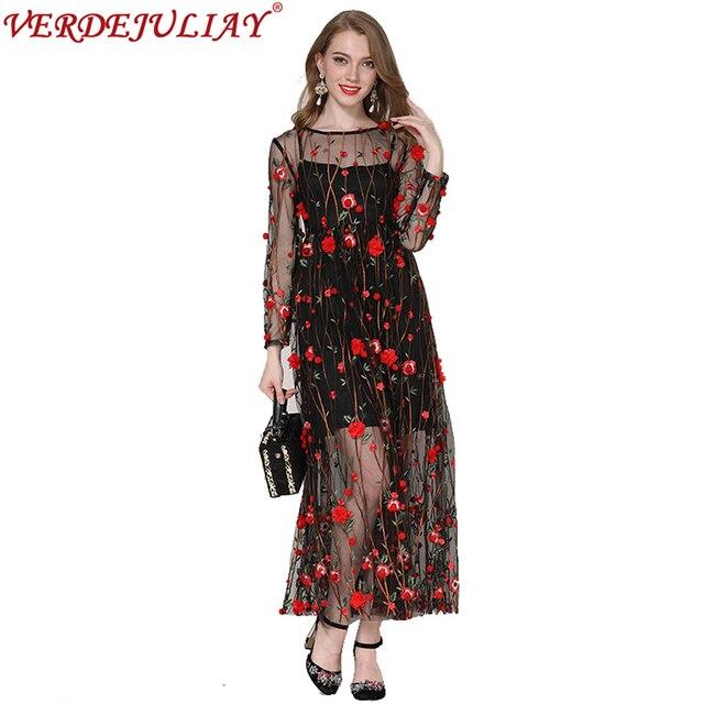 108d69df5f Malha Vestidos Longos Novidade 2019 Mulheres Verão Moda Flores Bordados  Império A Linha do Tornozelo-