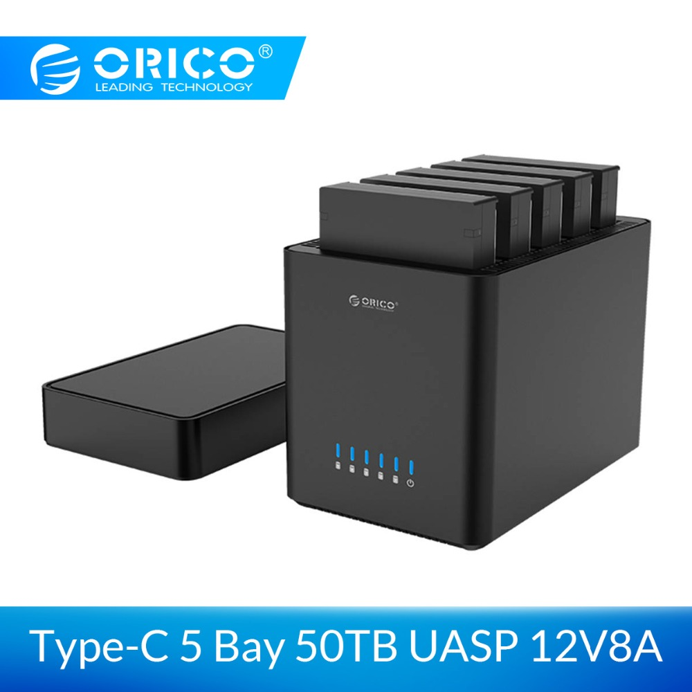 ORICO 5 Bay Magnetic-type 3.5 Inch Type-C Hard Drive Enclosure Support 50TB Max 5Gbps UASP 12V Adapter Tool Free HDD Enclosure