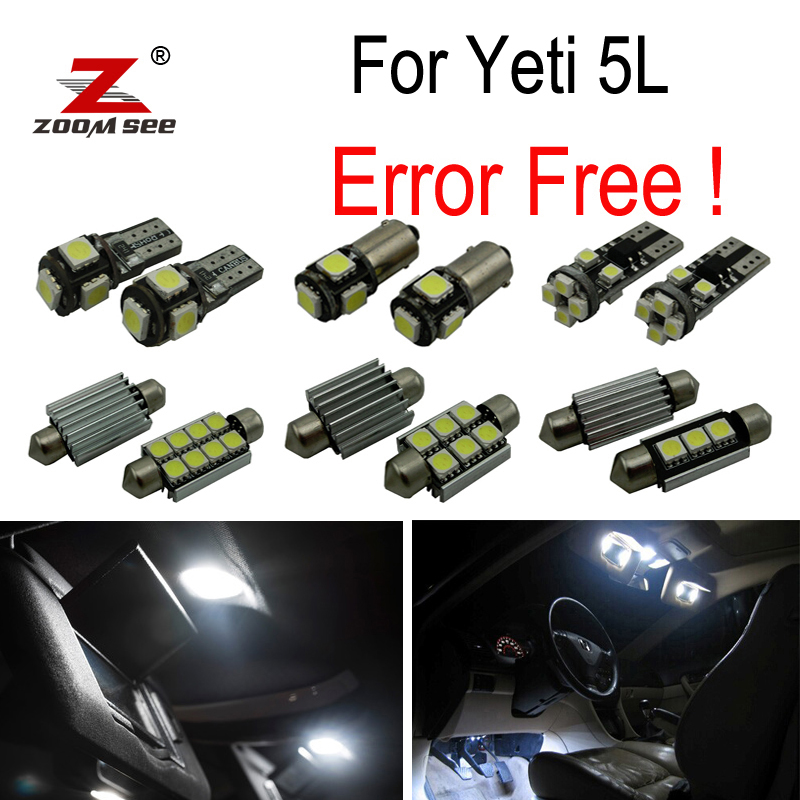 19pcs license plate lamp LED bulb Interior dome Light Kit for Skoda Yeti 5L SUV  (2009+) cawanerl car canbus led package kit 2835 smd white interior dome map cargo license plate light for audi tt tts 8j 2007 2012