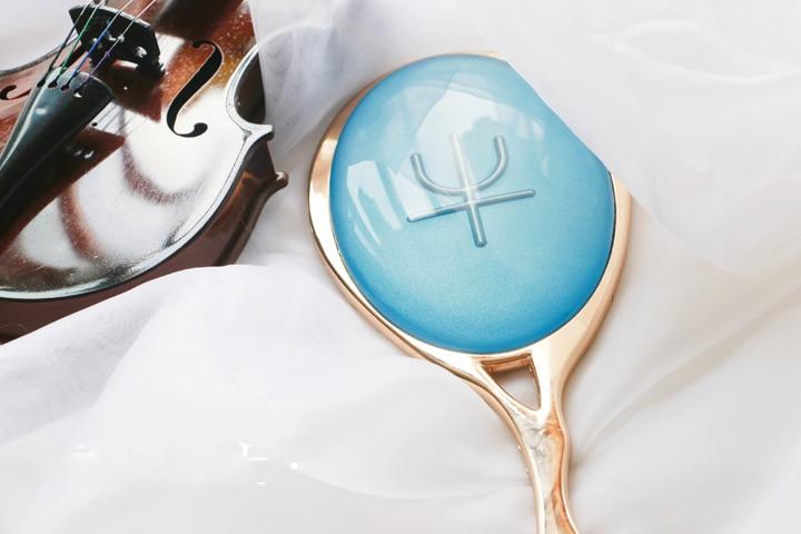 Anime Sailor Moon Kaiou Michiru Cosplay Mirrors Blue Crystal Neptune Zecter Makeup Cosmetic Mirror Comic Weapon Metal Props