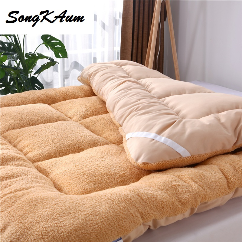New Wool-like Polyester Fibre Tatami Student Dormitory Single Mattress Foldable Mattress Single Hostel Bedspread Bed Pad
