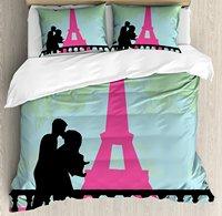 Поцелуй постельное белье пара в Париже поцелуи рядом Eiffels башня Любовь День Святого Валентина рисованной декоративные Постельное белье