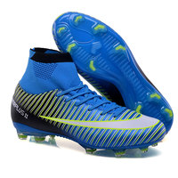 New Adults Men's Football Boots Ankle Top Outdoor FG Sole Soccer Cleats Sports Futsal Soccer Sneakers