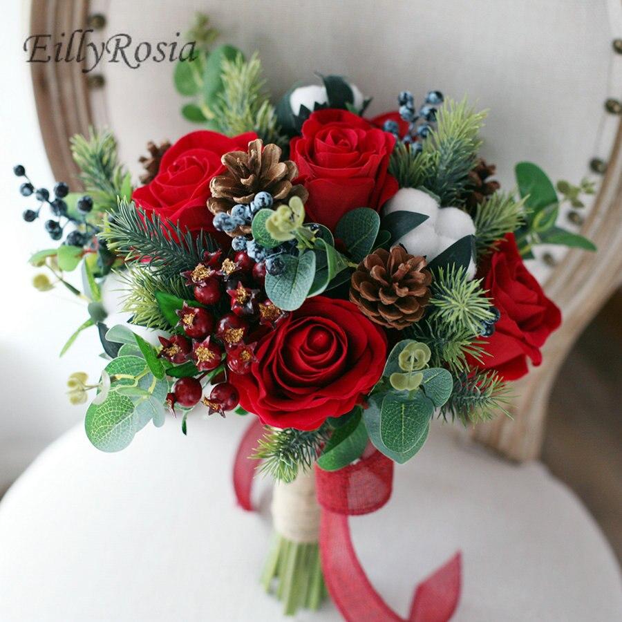 Rose rouge mariage Bouquets mariée fleurs artificielles baie houx décoration de noël 2018 nouvel an mariée Bouquet matrimonio