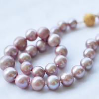 Fashion genuine purple freshwater cultured 8 9mm pearl hot sale necklace round beads magnet clasp women jewelry 18inch BV147