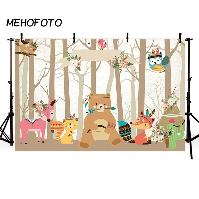 Cartoon Animals Birthday Backdrops Baby Forest Jungle Safari Photography Background Party Decorations for Backdrop