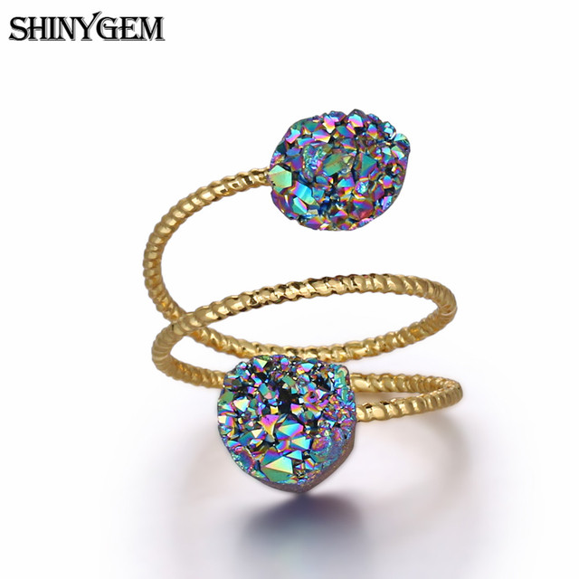 HOT 5pcs Gold plated Oblate shape Natural Titanium 20mm Pearl Druzy Ring,Crystal Cuff Ring Charm Gemstone Ring Jewelry findings