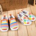 2016 nuevos niños de la historieta de la lona shoes shoes kids sneaker shoes muchachos de las muchachas del niño del bebé del arco iris de rayas shoes