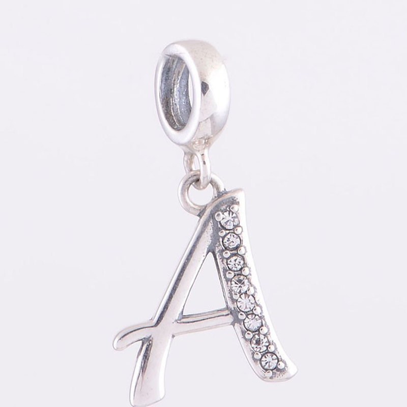 alphabet letter a pendant crystal beads fit pandora charms bracelets silver 925 original jewelry fashion diy