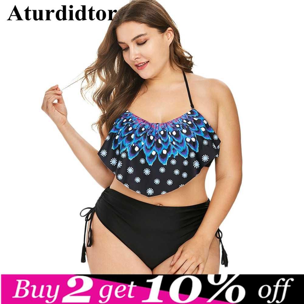 a9d1429220c Plus Size Bikini Set Swimwear High Waist Flouncing Women Push Up Beach  Brazilian Swimsuit Vintage Retro