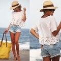 Señoras de Las Mujeres blusas de Gasa Blanco Camisetas camisetas gráficas de las mujeres Ahueca Hacia Fuera tops de verano de Manga Corta Más El Tamaño S ~ XL