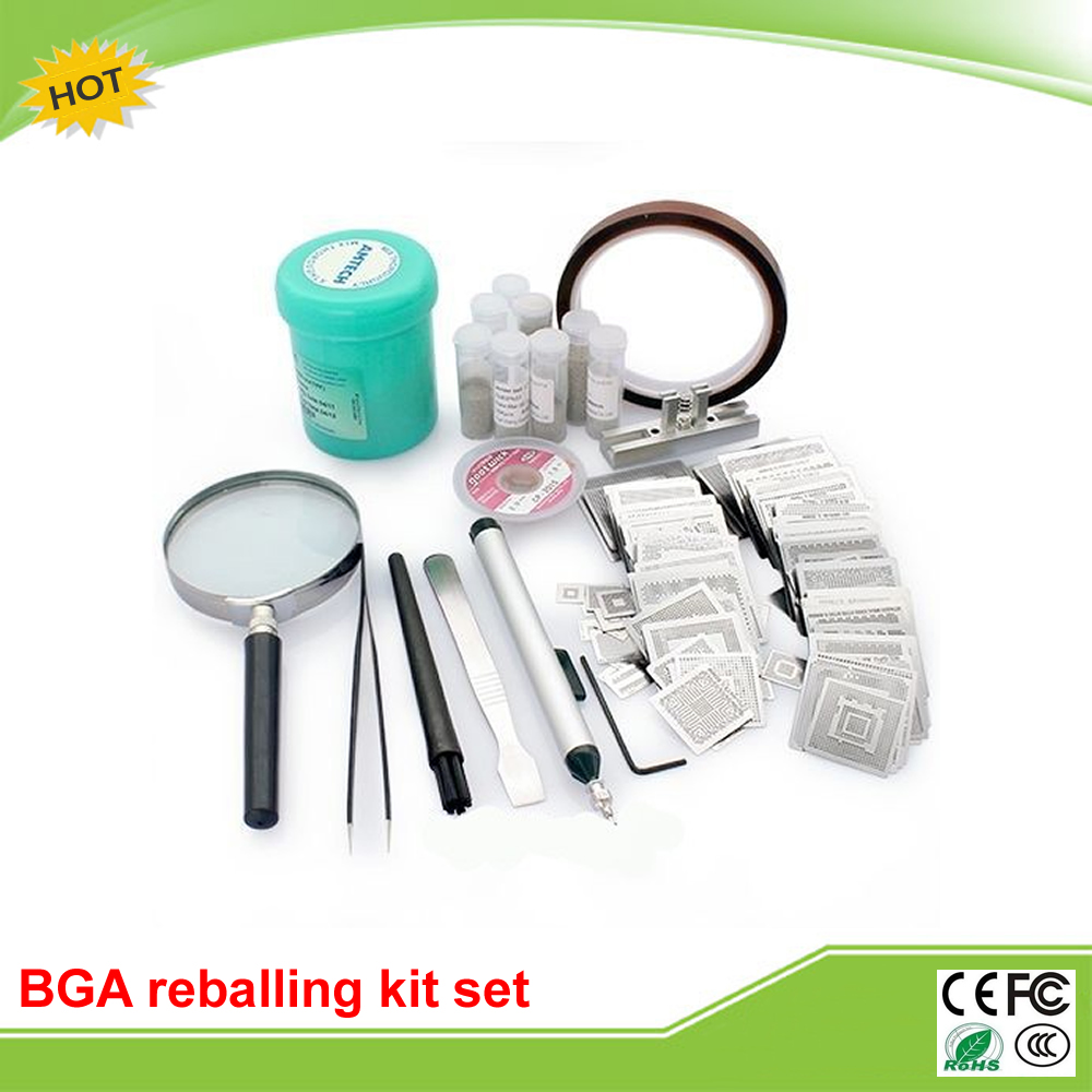 BGA reballing kit with 295pcs direct heating stencils for newest smartphone laptop desktop RAM/XBOX/PS3/WII/PSP GPU CPU bga reballing station jig 184pcs 80x80mm templates kit for laptop desktop xbox
