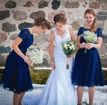 Royal Blue Lace Knee Length Bridesmaid Dress With Short Sleeve Elegant Wedding Party Dress Vestido De Festa