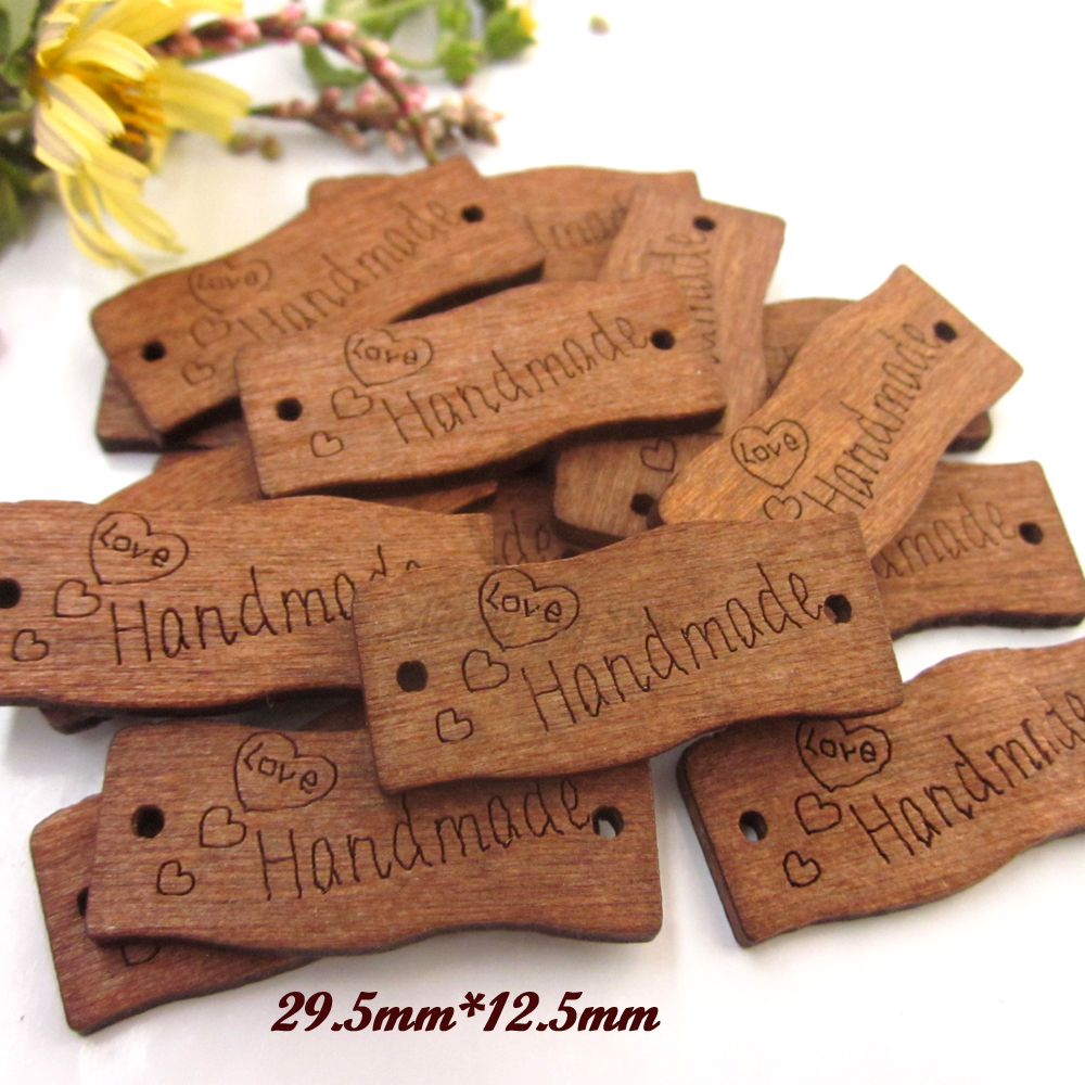 50pcs 20.5mm*12.5mm Coffee engraved handmade wood Signages for diy craft wooden handmade ...