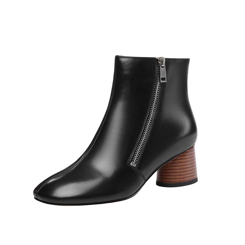 a002a79a6 Botas Cuero Mujer Zapatos Populares Diseño Vaca Karinluna Tacón Negro  Cremallera Alto 2019 blanco De Nuevos Genuino vRgqYPqzW