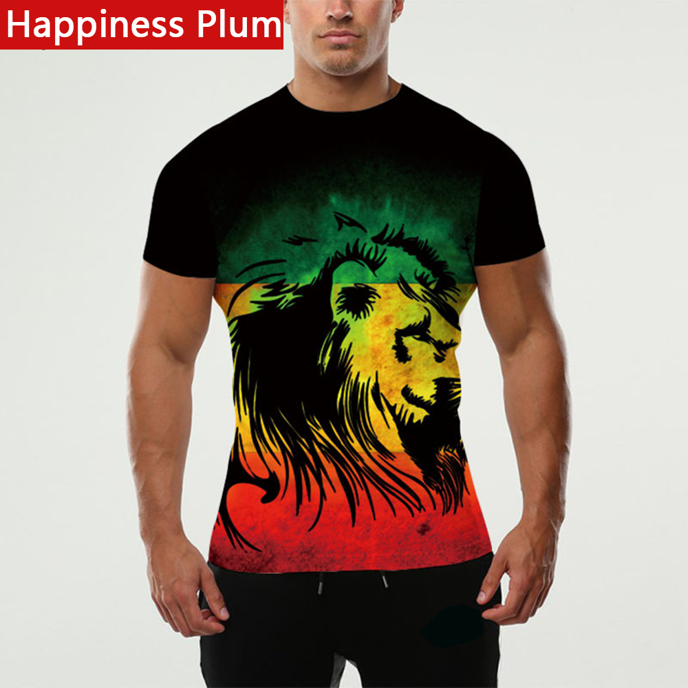 Happiness Plum Rasta T Shirt Rasta Clothing Men Shirt Lion King Tee Style 3d Printed T-shirts Male Anime Funny Brand Clothes