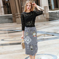 LD LINDA DELLA New Fashion 2016 Runway Women Suit Beading Embroidered Lace Tops Houndstooth Skirt suit