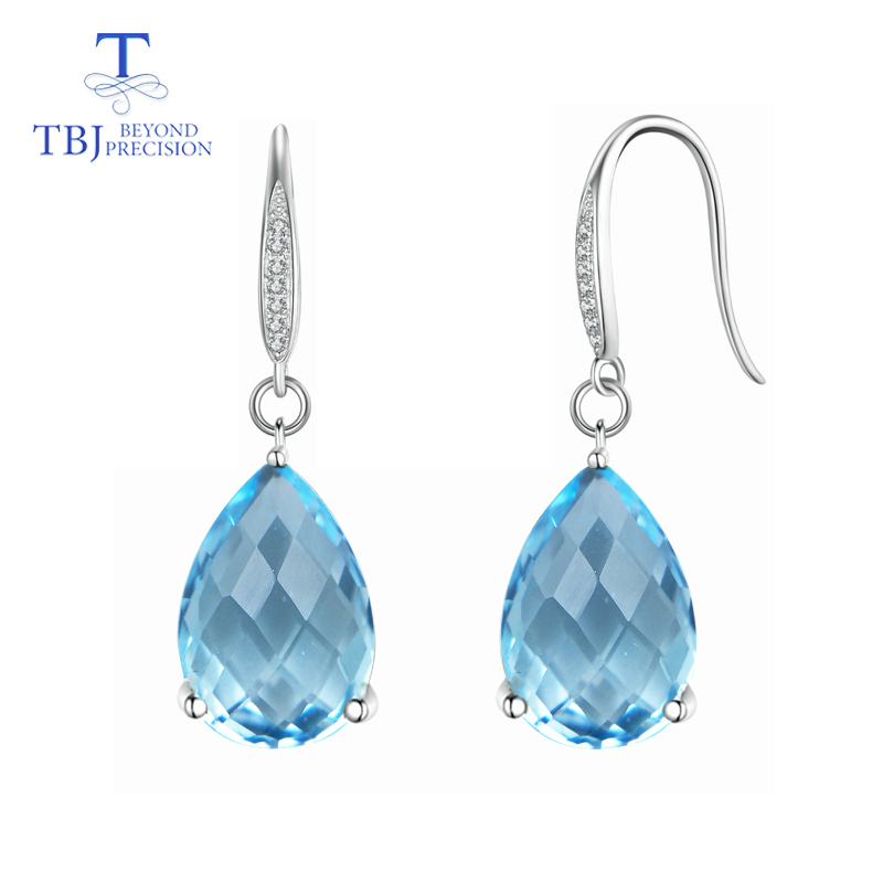 TBJ Natural Sky blue topaz Water Drop checkerboard cut Dangle hook Earrings Pure 925 Sterling Silver