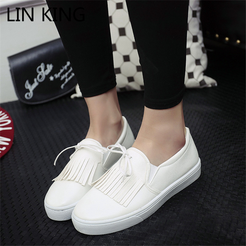 LIN KING Women Flats Shoes Pu Leather Casual Shoes Solid Slip On Ankle Shoes Retro Tasssel Loafers Thick Sole Knot Lazy Shoes lin king fashion pu leather women flats shoes round toe loafers comfortable slip on casual shoes solid breathable girl lazy shoe
