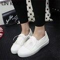 LIN REI Mulheres Flats Sapatos de Couro Pu Sapatos Casuais Deslizamento Sólida no Tornozelo Sapatos Retro Tasssel Nó Sapatos Preguiçosos Mocassins de Sola Grossa