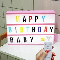 LED Combination Night Light Box Lamp Remote Control Lights Colorful DIY 252 letter cards USB Powered Cinema Lightbox home decora